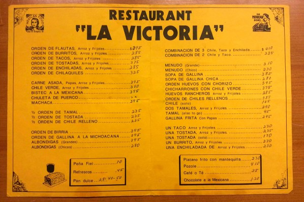 La Victoria has been on 24th Street since the 1950s, when the Mission was still a largely Irish and German working-class neighborhood. This menu is from 1980.
