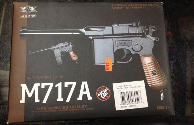 A replica gun for sale at A & A Bargain Store.