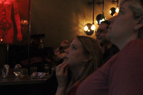 Fans at Dr. Teeth bar on Mission Street after 49ers quarterback Colin kaepernick throws an interception.