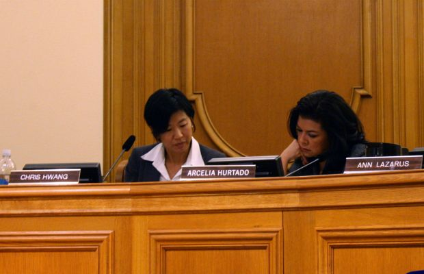 Board of Appeals President Chris Hwang (left) and Arcelia Hurtado study new documents in the 1050 Valencia hearing on January 15.