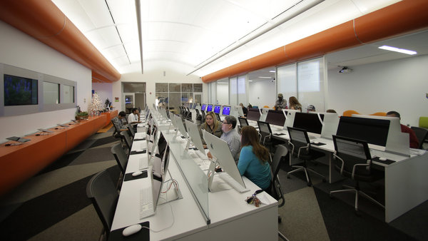 Patrons use computers at BiblioTech, a digital public library in San Antonio, Texas.  Photo by Eric Gay/AP.