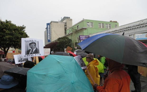 Protesters outside Kaushik Dattani's office in February. Photo by Mark Rabine.