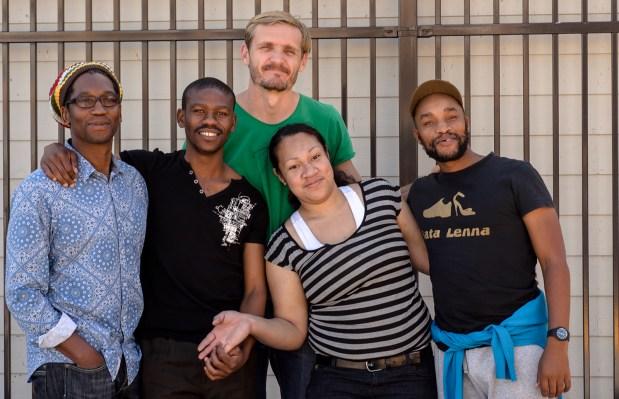 Ntsoana Contemporary Dance Theater:  Artistic Director Sello Pesa, dancer Brian Mtembu, conceptual artist Vaughn Sadie, and dancer Humphrey Maleka, with 24th Street BART Plaza habitué Spice.
