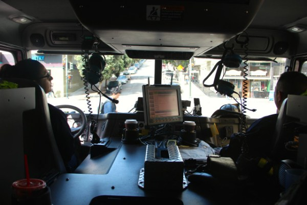 Carvajal (left) driving the fire engine through the Mission neighborhood in San Francisco (Photo by Viktorija Rinkevičiūtė)