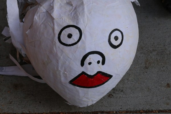 A pinata that was meant to resemble the head of eviction lawyer Daniel Bornstein.