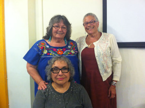 Yolanda Lopez, front. Judy Drummond, Donna Amador in back.