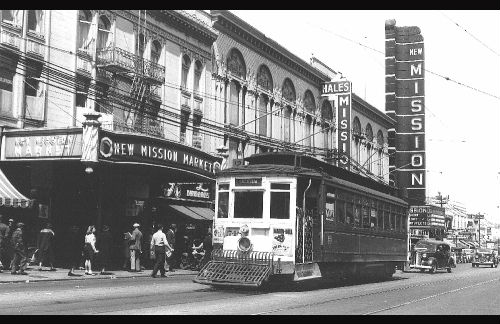 The view of Mission Street trolley and the New Mission Theater in 1941. Photo courtesy of Jack Tillmany.