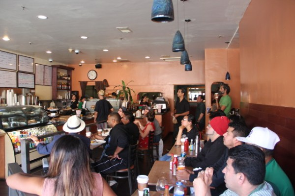 Most fans at La Taza were hoping Mexico would maintain its lead. Photo by Joe Rivano Barros.