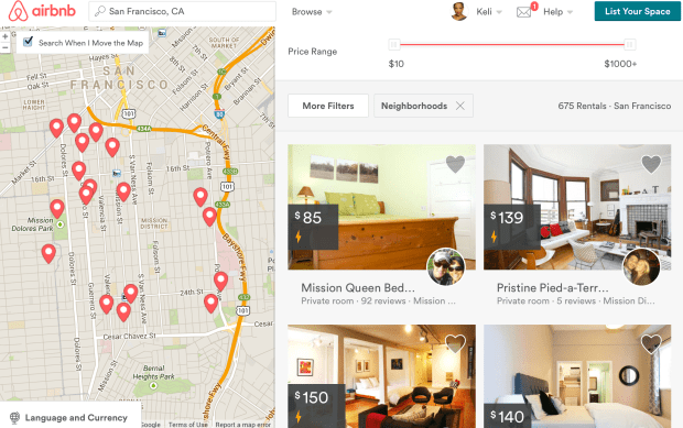 Screenshot of Airbnb listings for the Mission District.