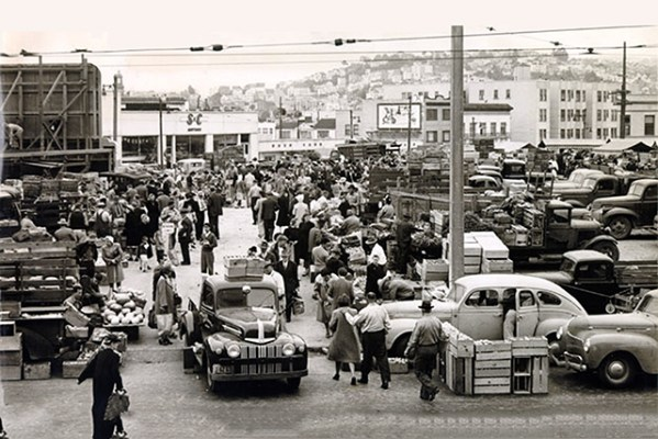 Duboce Farmers Market, August 2, 1951. Courtesy of SF Found