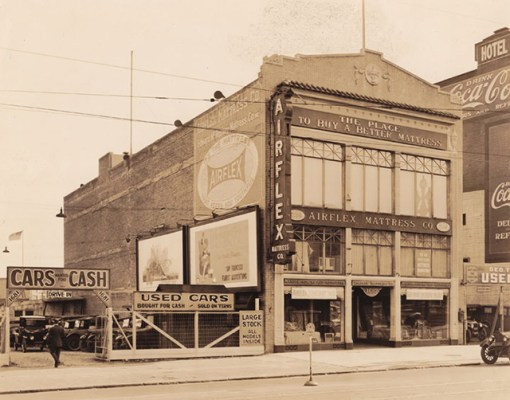 "Started in 1899, the McRoskey Mattress Company - pictured here in the 1920s - still stands at 1687 Market Street near Gough Street. Photo courtesy of <a href=""http://foundsf.org/index.php?title=Market_Street_Hub_Neighborhood/"">FoundSF</a>"