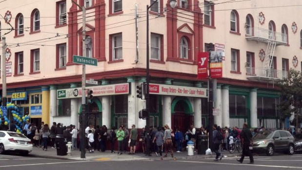 The Saturday scene outside CREAM, the Mission's new gourmet ice cream sandwich shop.