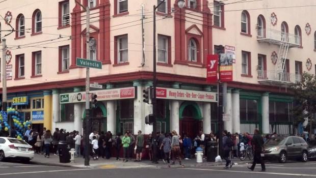 The Saturday scene outside CREAM, the Mission's new gourmet ice cream sandwich shop.