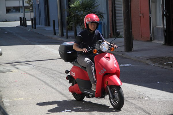Bonnie Lai takes her first spin on a Scoot