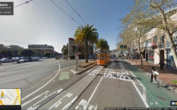 "The site of the former Market Street Hub Neighborhood on Market Street, February 2014 via <a href=""https://www.google.com/maps/@37.772538,-122.422723,3a,90y,214h,90t/data=!3m4!1e1!3m2!1sNntNtSXky1wOhzrkVbZiRg!2e0!6m1!1e1"">Google Street View</a>"