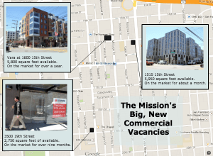 Prominent commercial vacancies in mixed use developments. Map by Daniel Hirsch.