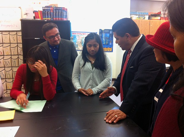 Jennifer Chavac, 16, with Supervisor David Campos and School Superintendent Richard Carranza at the first day of school at SFIHS.