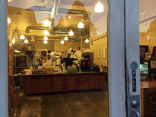 """""""What up?""""  Arizmendi was the only place on the block that was truly awake at 6:45ish this morning."""