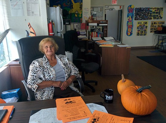 Rita Alviar, the executive director of the Mission Educational Project, at her desk.