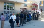 The line outside a job fair at City College. Photo by Daniel Hirsch.