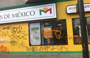 Milagros de Mexico Pharmacy tagged up after the Giants victory celebration in the Mission. Photo by Andrea Valencia