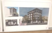 Plans for the current site of the Elbo Room as presented by Kerman Morris architects at community meeting November 6. Photo by Daniel Hirsch.