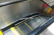 The piece of broken metal at the 24th St. BART escalator that hit a woman in the leg. Photo by Joe Rivano Barros.