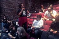 Community organizer Adriana Camarena addressed community members at meeting held to address homeless encampments in the Mission. Photo by Laura Waxmann