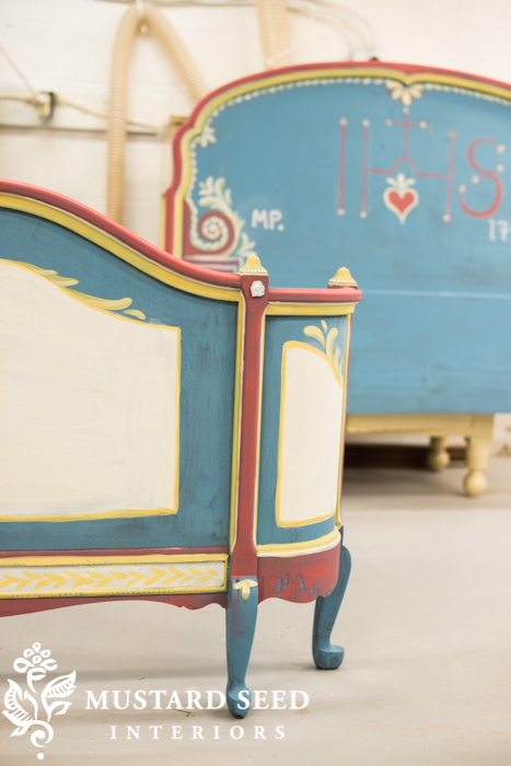 hand painted guest bed before distressing & waxing | miss mustard seed