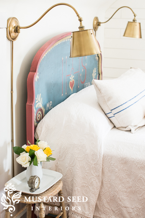 brass sconces from pottery barn | miss mustard seed's guest room