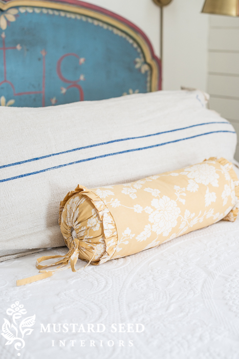 bolster pillow from pine cone hill | miss mustard seed's guest room