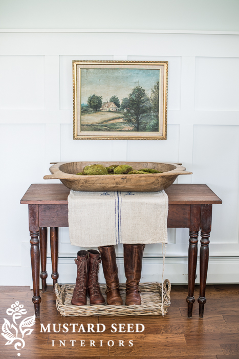 Post beam vintage decorating with dough bowls - Mustard seed interiors ...