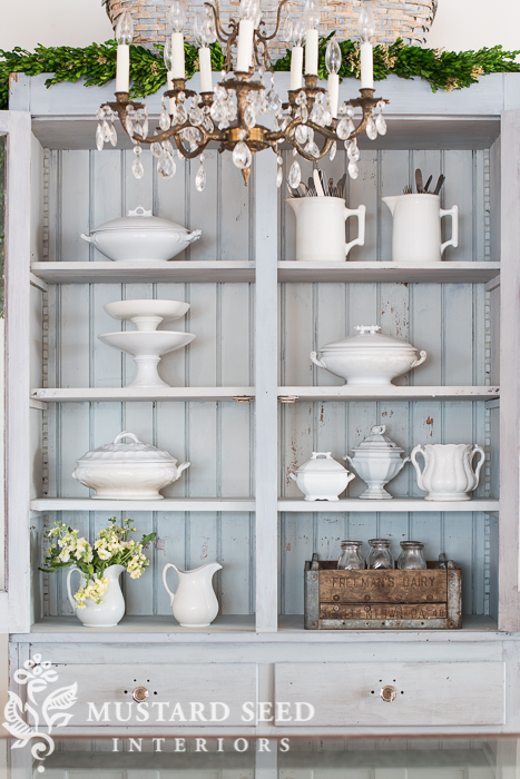 milk painted antique hutch | miss mustard seed