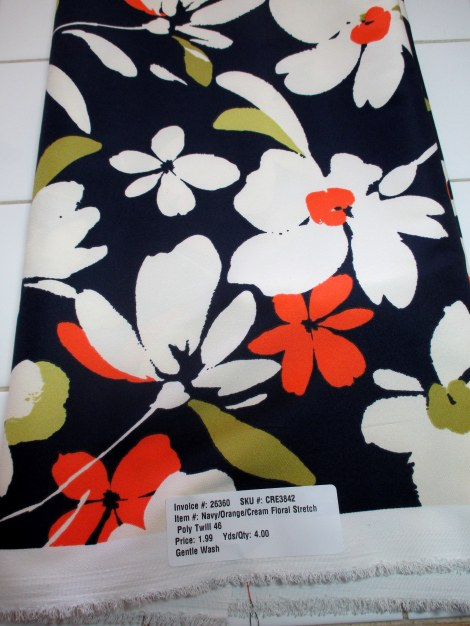 Floral print poly twill