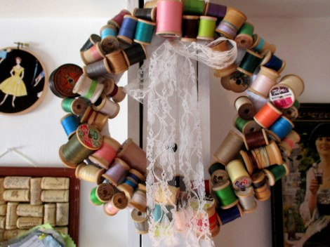 Vintage thread spool wreath