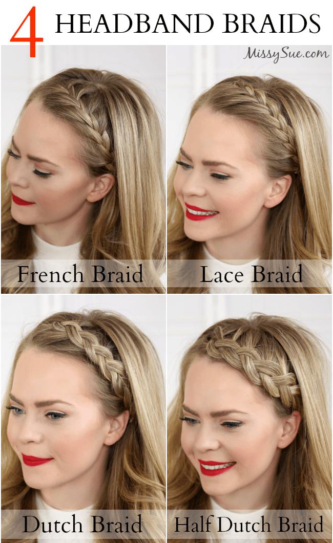 Four Headband Braids | MissySue.com