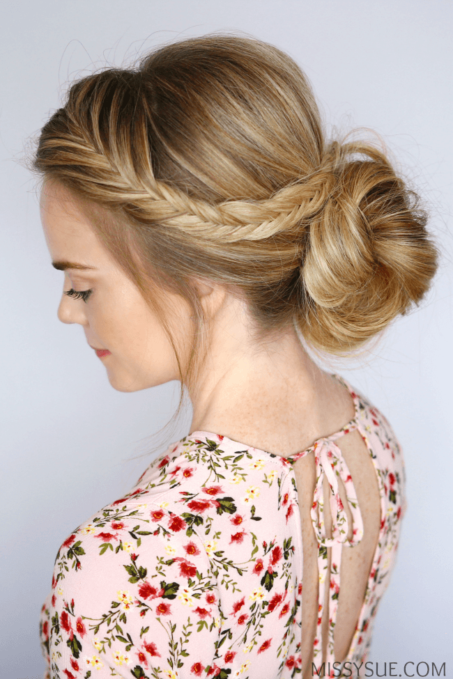 fishtail-braid-bun-hairstyle