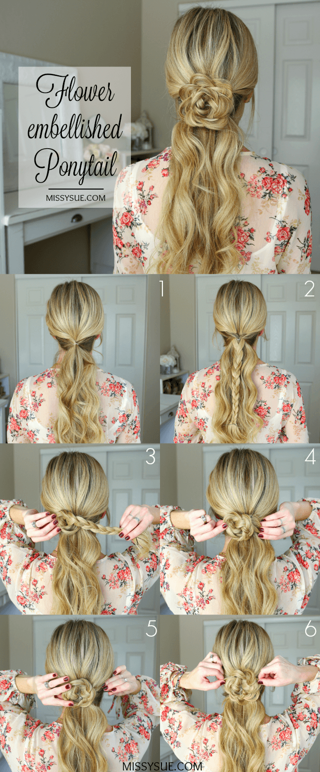 flower-embellished-ponytail-hairstyle-tutorial
