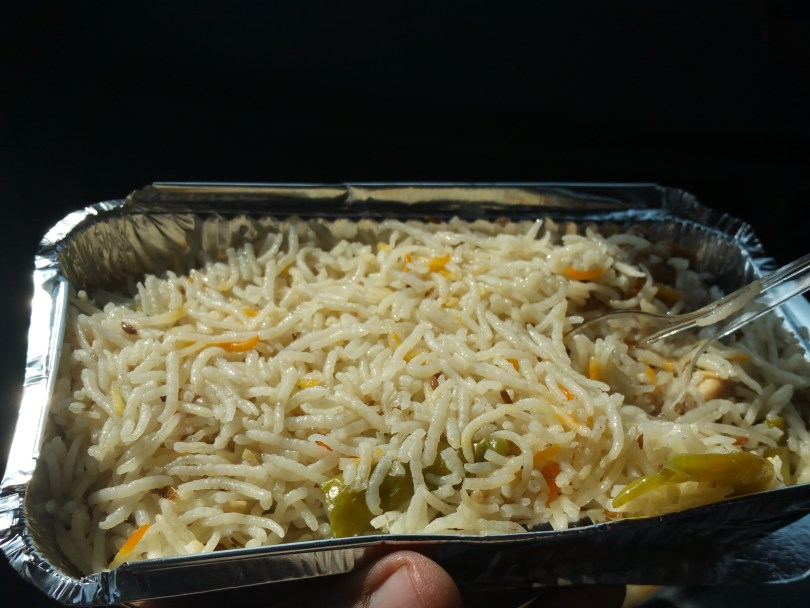 Biryani as I open it...... Chicken pieces lie comfortable under the bed of Fragrant Rice