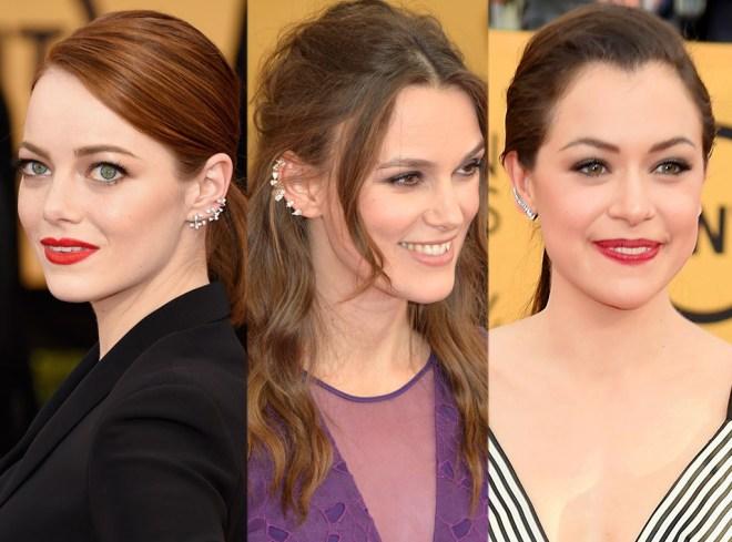 Emma Stone, Keira Knightley e Tatiana Maslany Ear cuff