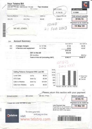 Feb 2003 phone bill, MX MD JONES