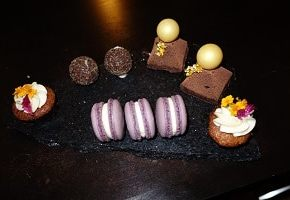 Lavender macaroons, chocolate cakes, truffles and mini cupcakes. Delish!