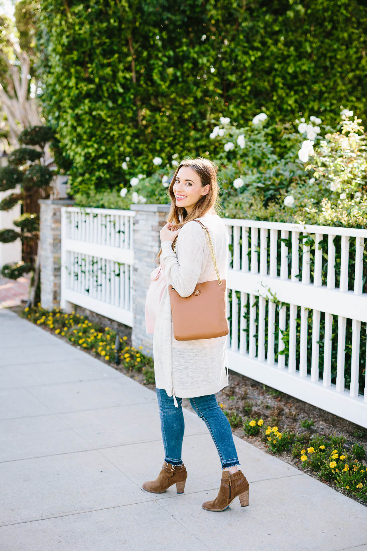 NSale Tory Burch bag with Jeans and Cole Haan brown suede booties