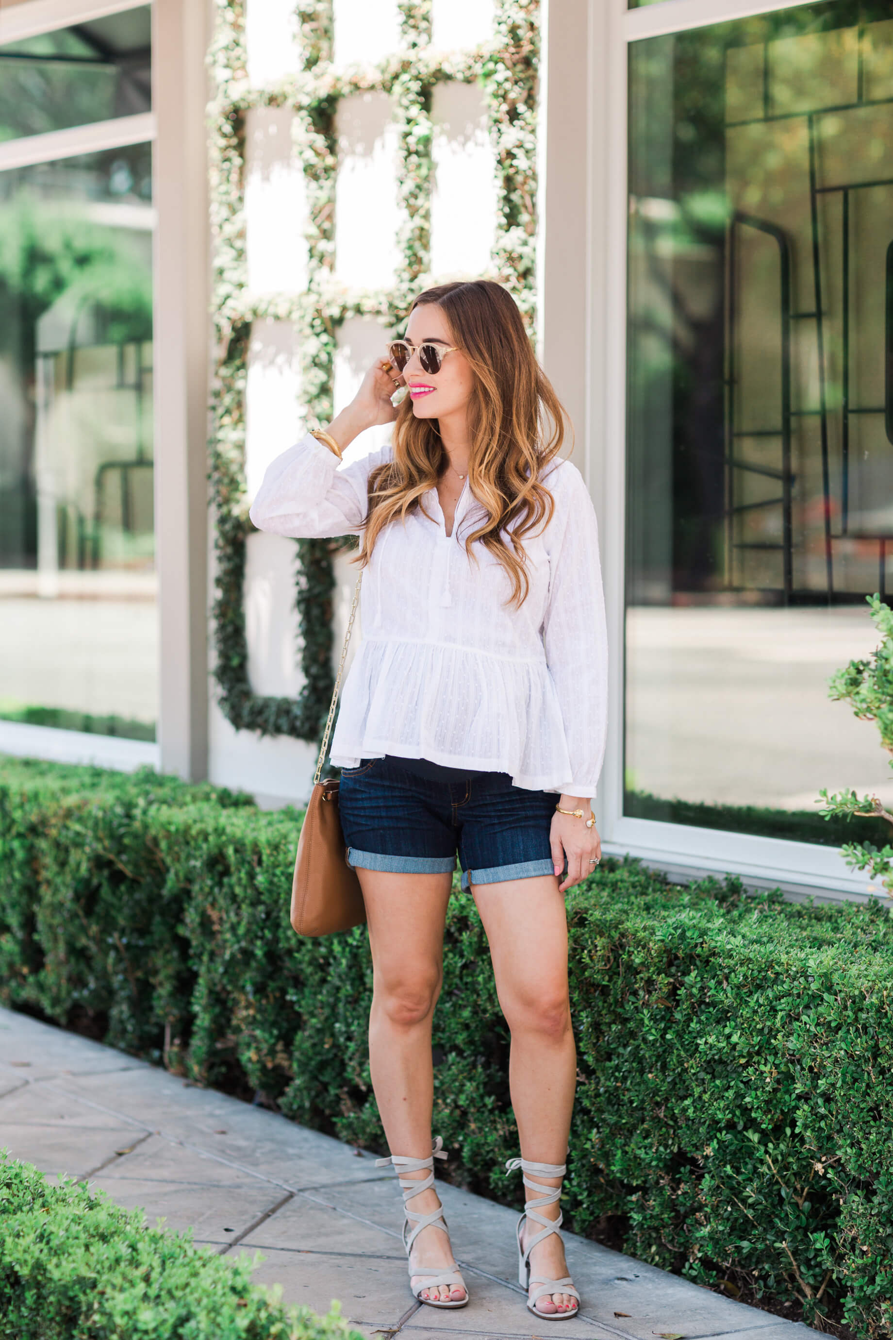 Styling a White Peplum Top with Shorts