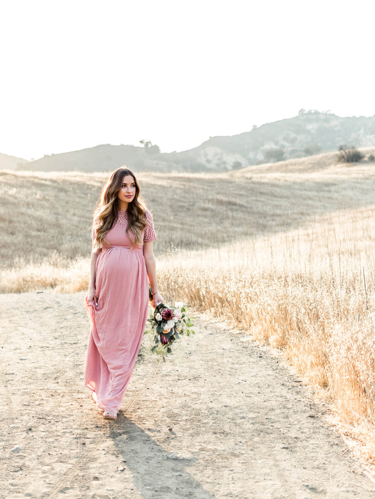 love this rose pink maxi dress