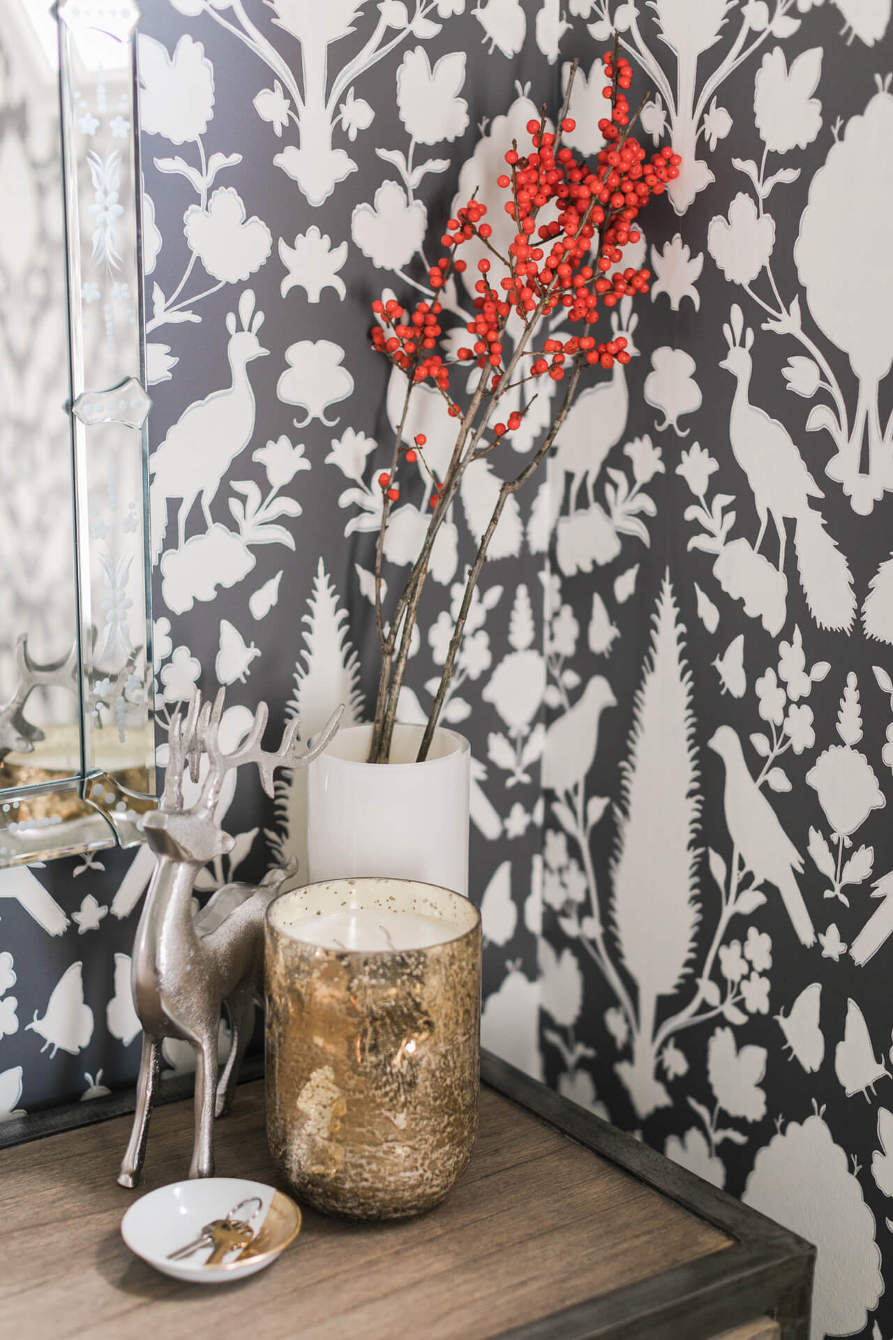 style your entryway with berry branches