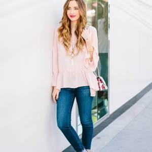 pink ruffled top