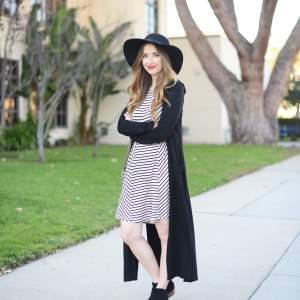 black long cardigan with striped dress