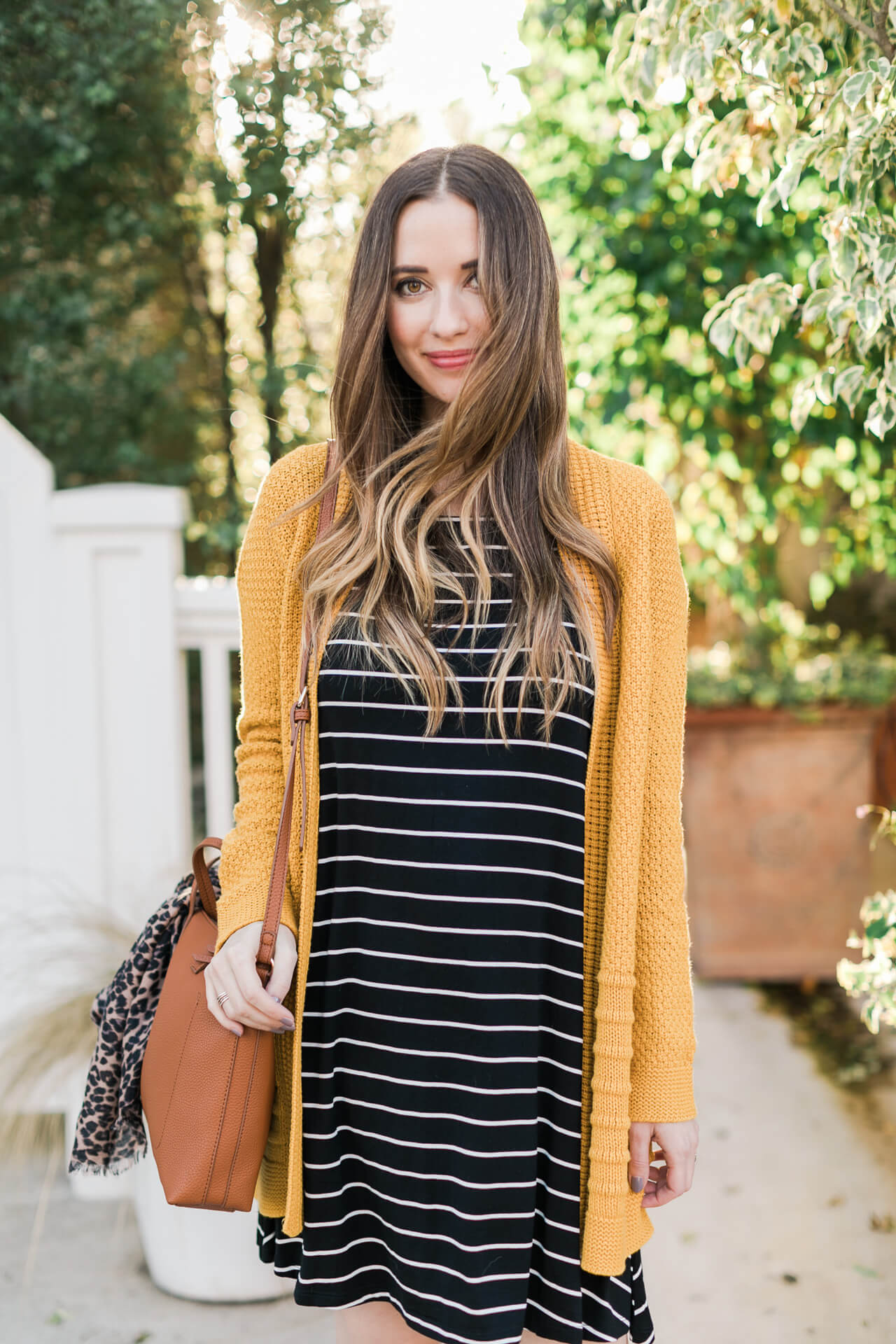 love this striped dress with mustard cardigan