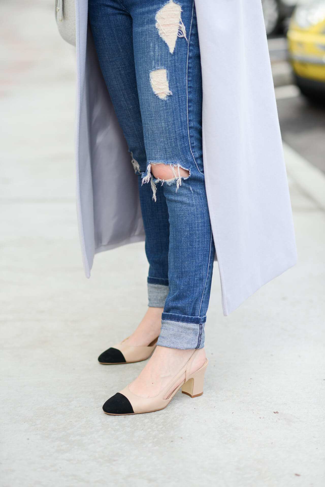 distressed jeans and affordable cap-toe slingback heels